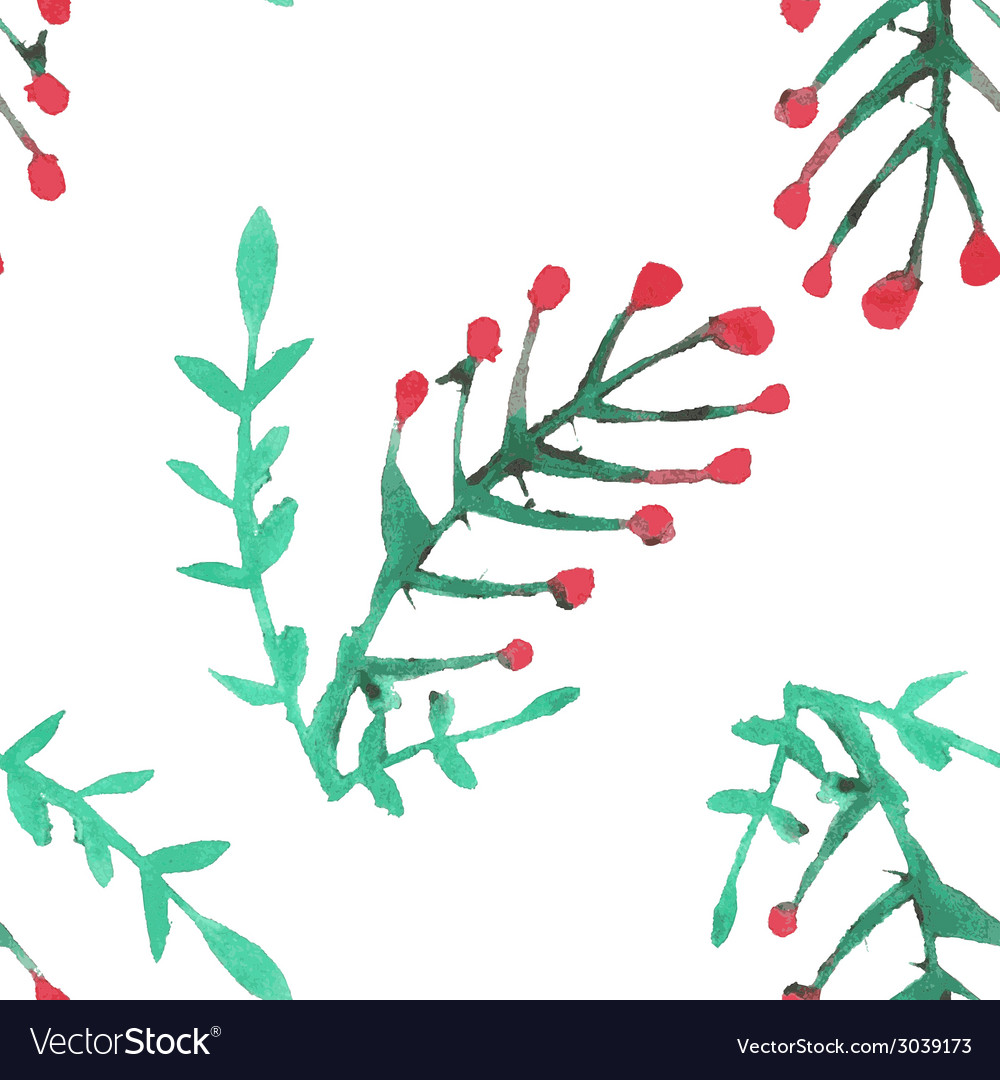 Seamless pattern with watercolor rowan vector | Price: 1 Credit (USD $1)