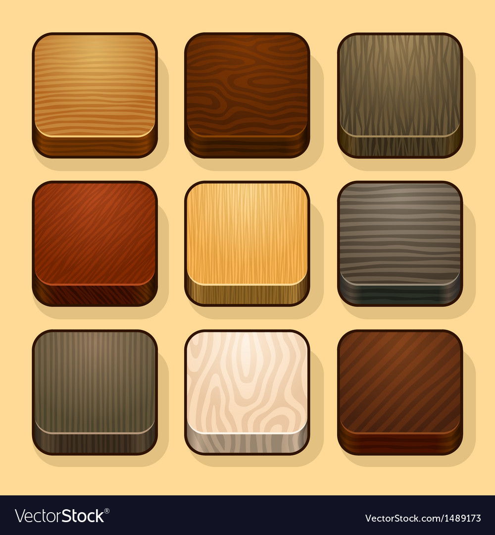 Set of wood ios icons vector | Price: 1 Credit (USD $1)