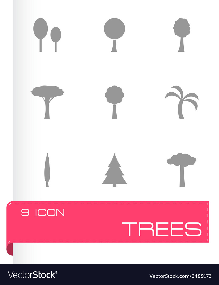Trees icon set vector | Price: 1 Credit (USD $1)