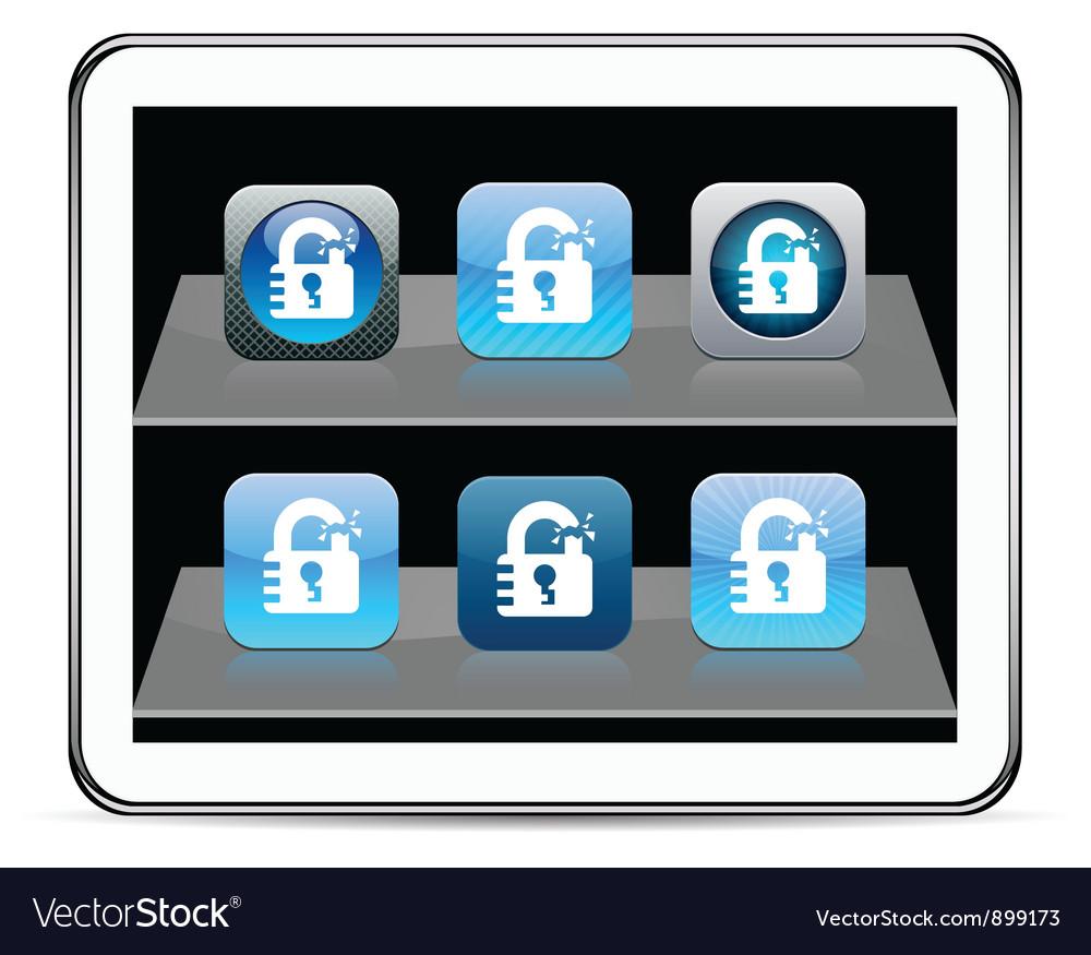 Unlock blue app icons vector   Price: 1 Credit (USD $1)