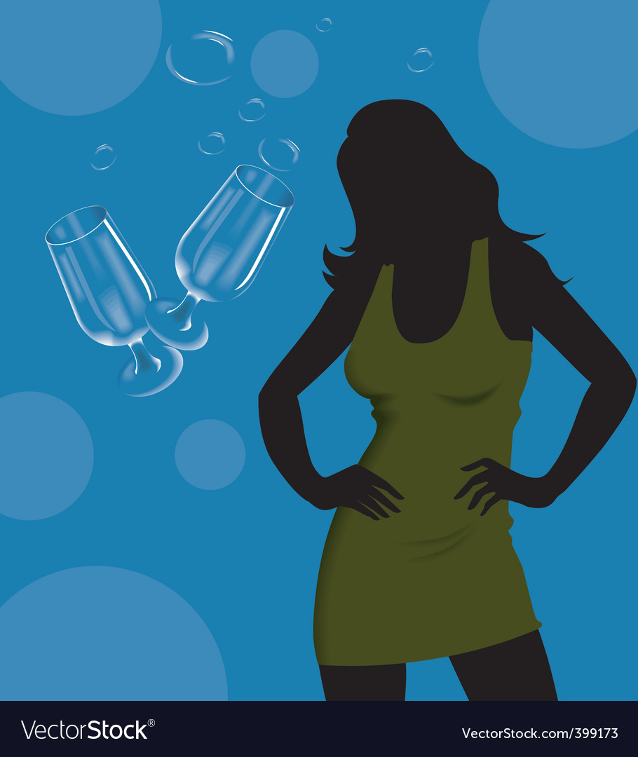 Wine glass and lady vector | Price: 1 Credit (USD $1)