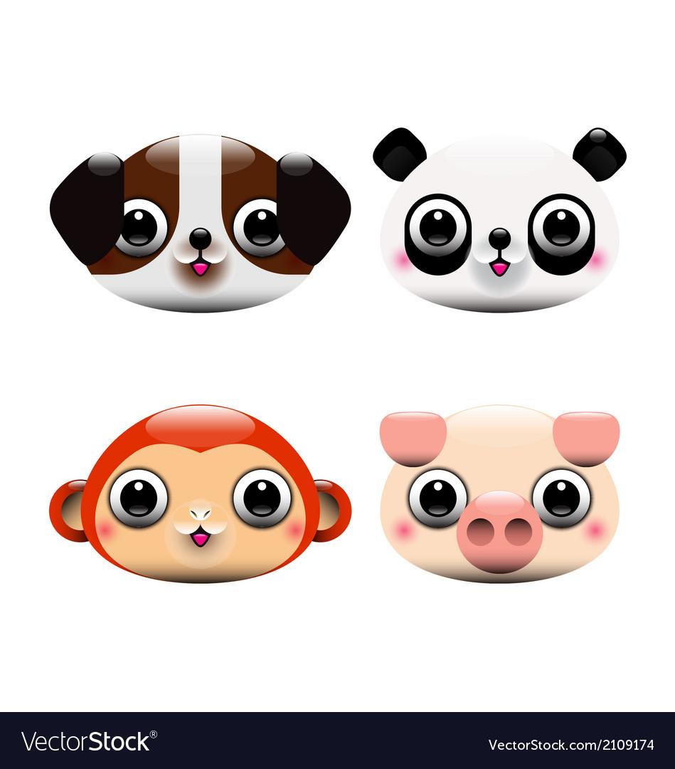 Animal heads vector | Price: 1 Credit (USD $1)