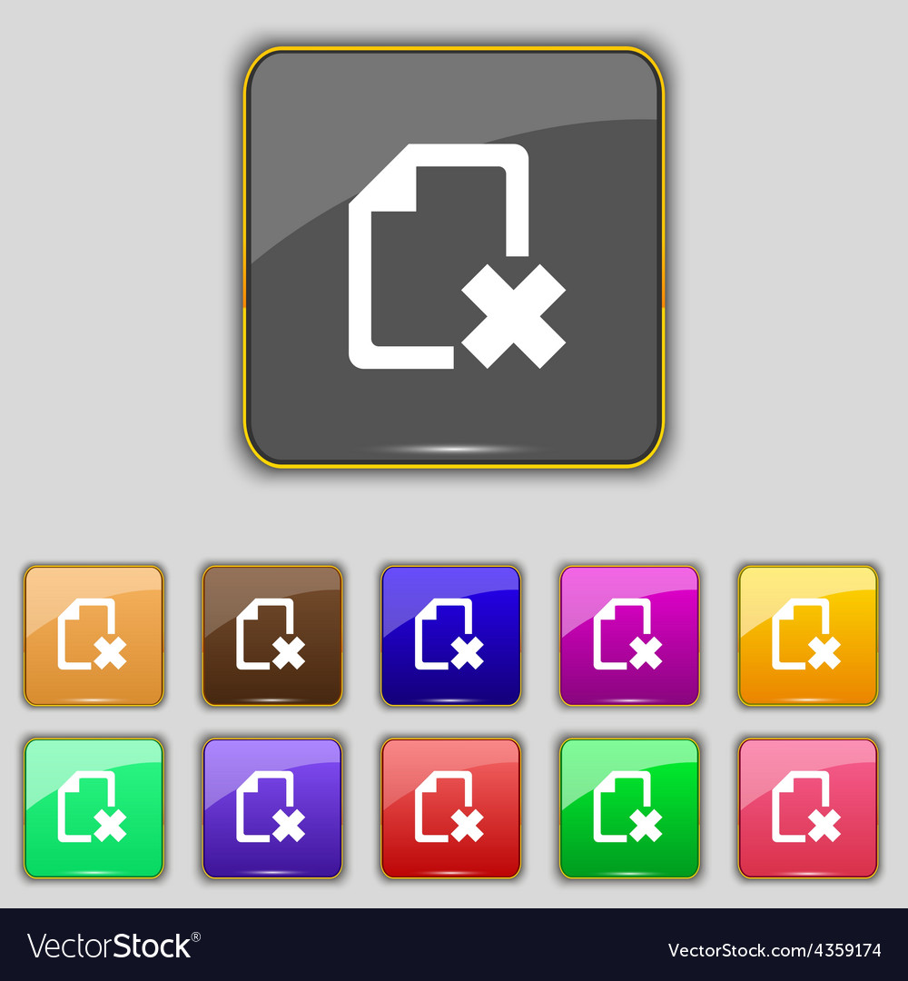 Delete file document icon sign set with eleven vector | Price: 1 Credit (USD $1)