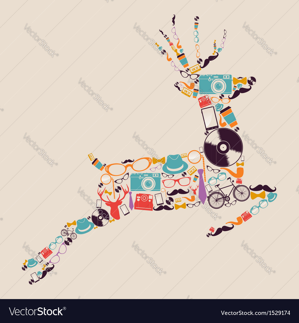 Retro hipsters icons reindeer vector | Price: 1 Credit (USD $1)