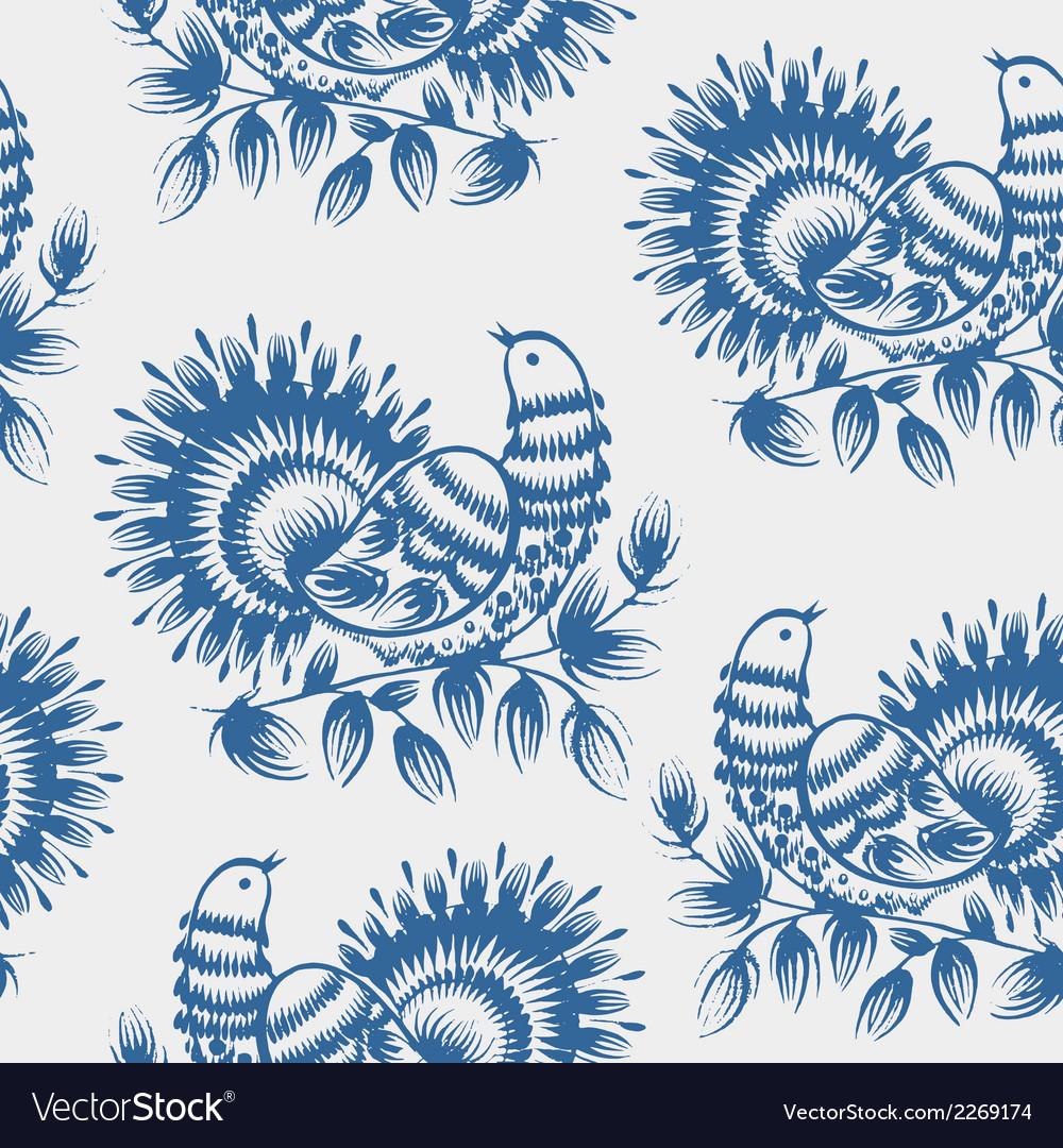 Seamless pattern peacock vector | Price: 1 Credit (USD $1)