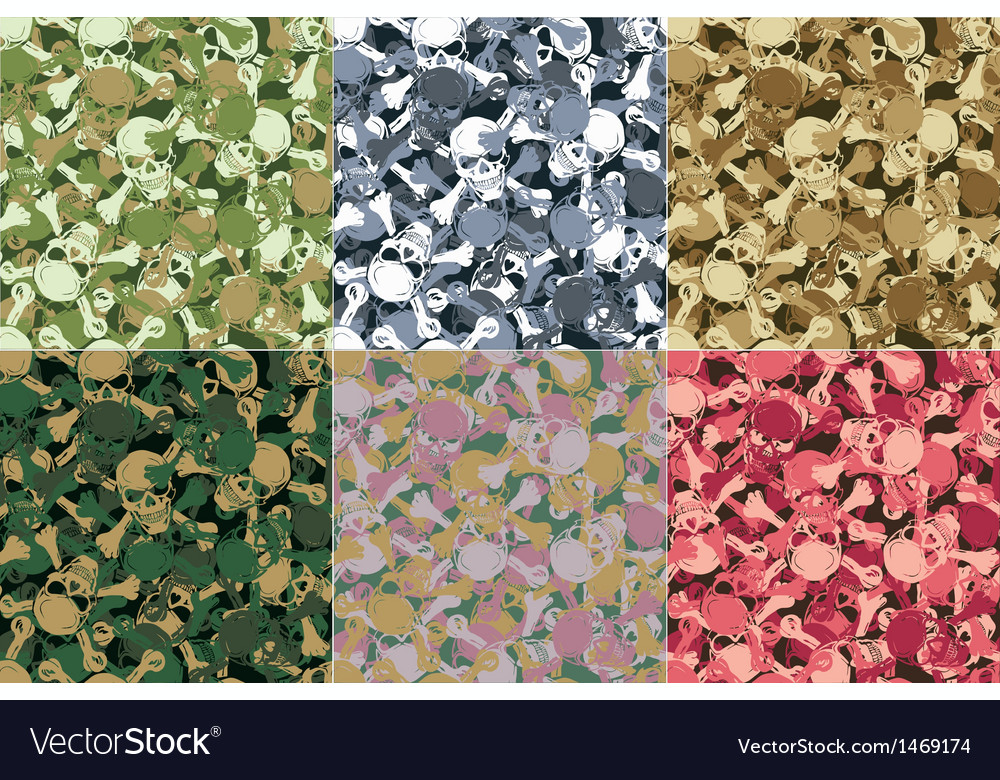 Seamless skull camouflage pattern vector | Price: 1 Credit (USD $1)