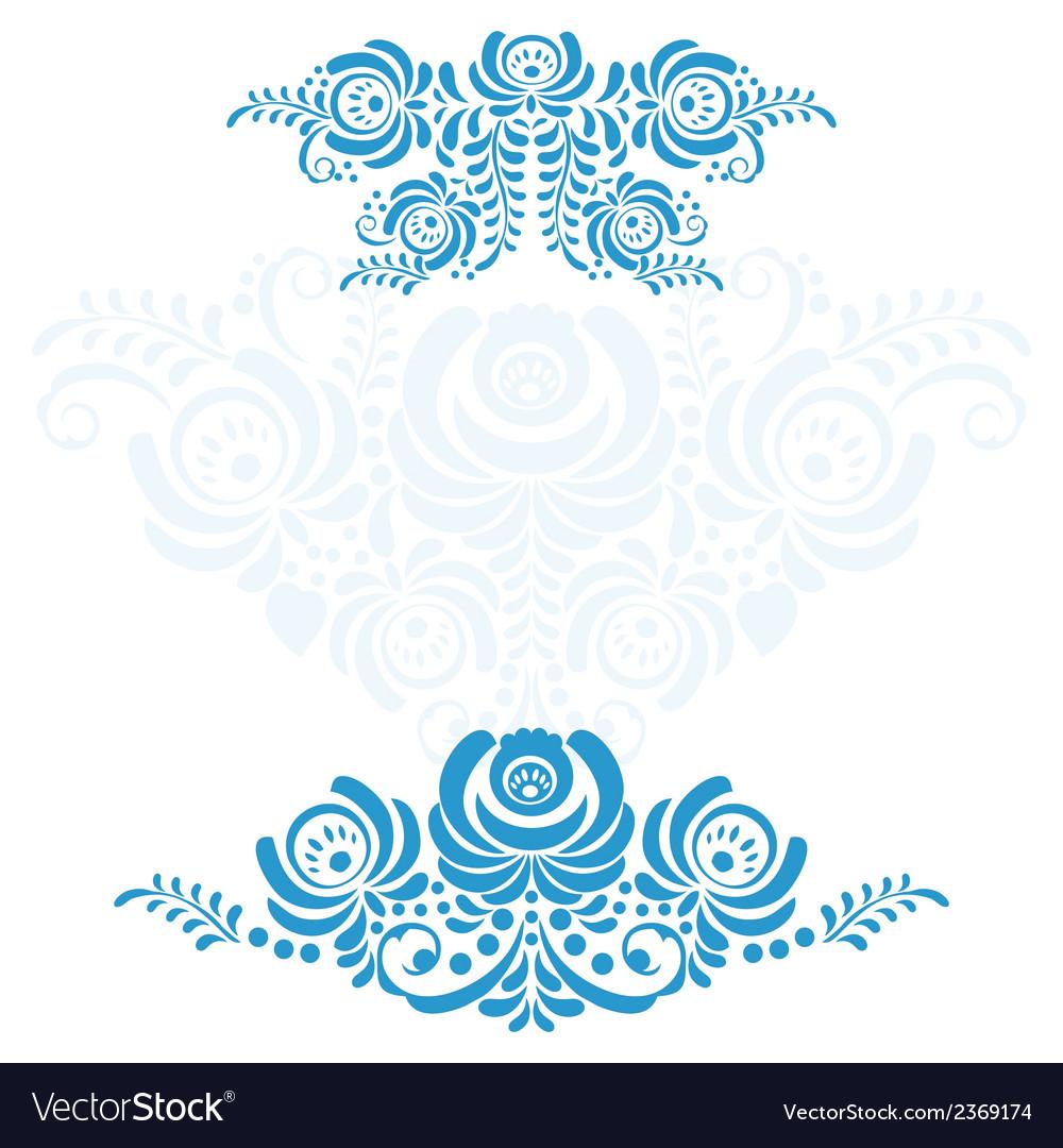 The set of elements russian ornaments gzhel vector | Price: 1 Credit (USD $1)
