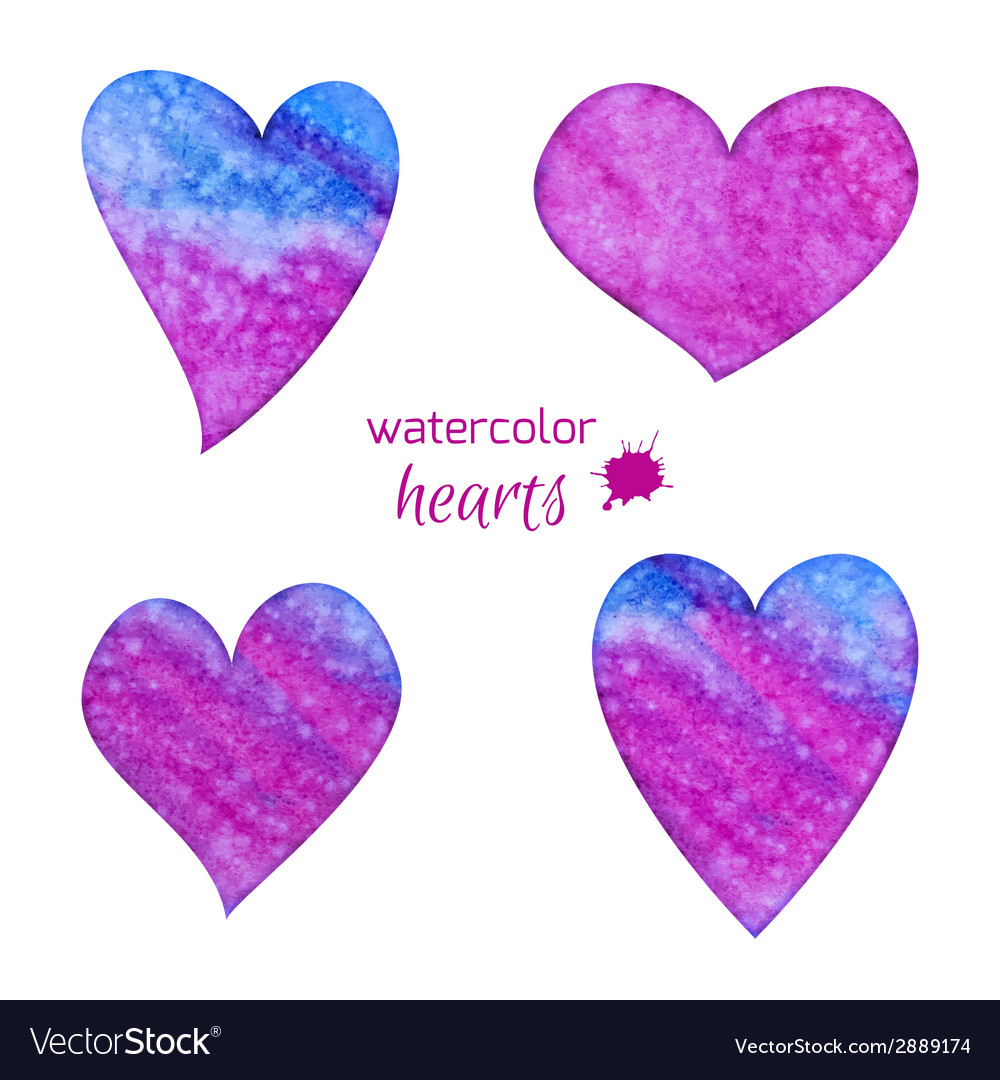Set of watercolor hearts vector | Price: 1 Credit (USD $1)