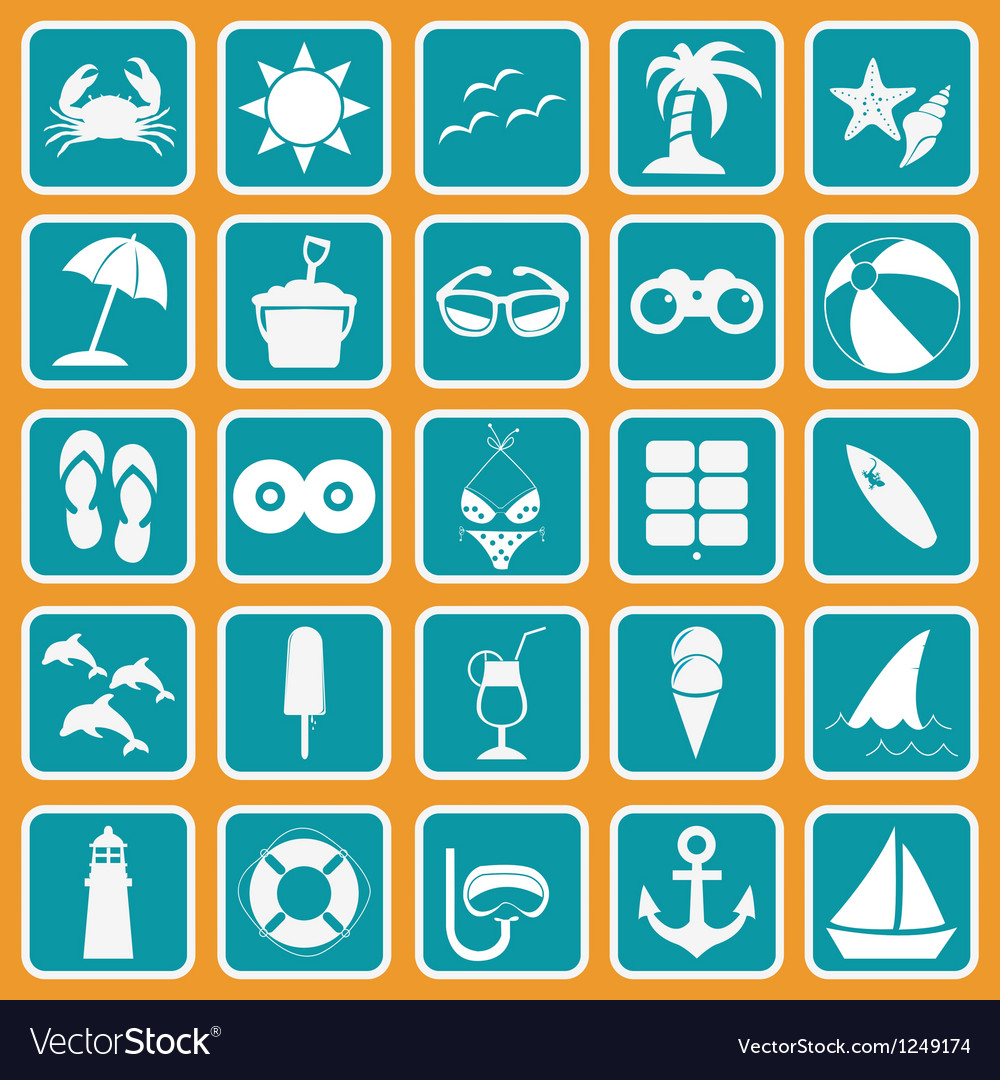 Spring break icon set basic style vector | Price: 1 Credit (USD $1)