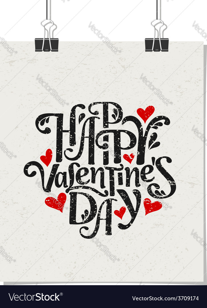 Vintage typographic valentines day design poster vector | Price: 1 Credit (USD $1)