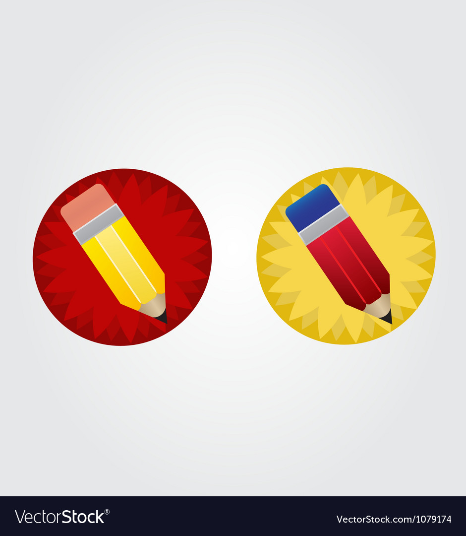 Yellow and red pencil on red and yellow star disk vector | Price: 1 Credit (USD $1)