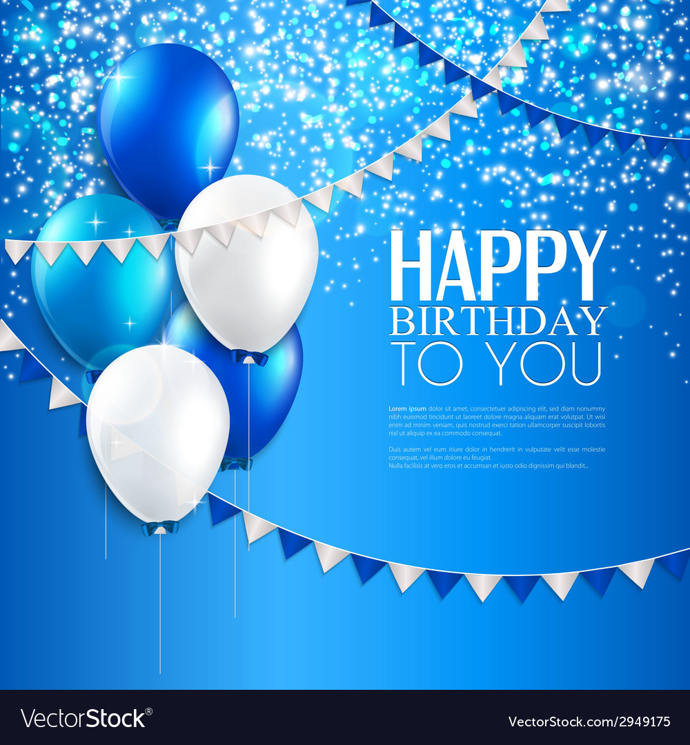 Birthday card with balloons and birthday text vector | Price: 1 Credit (USD $1)