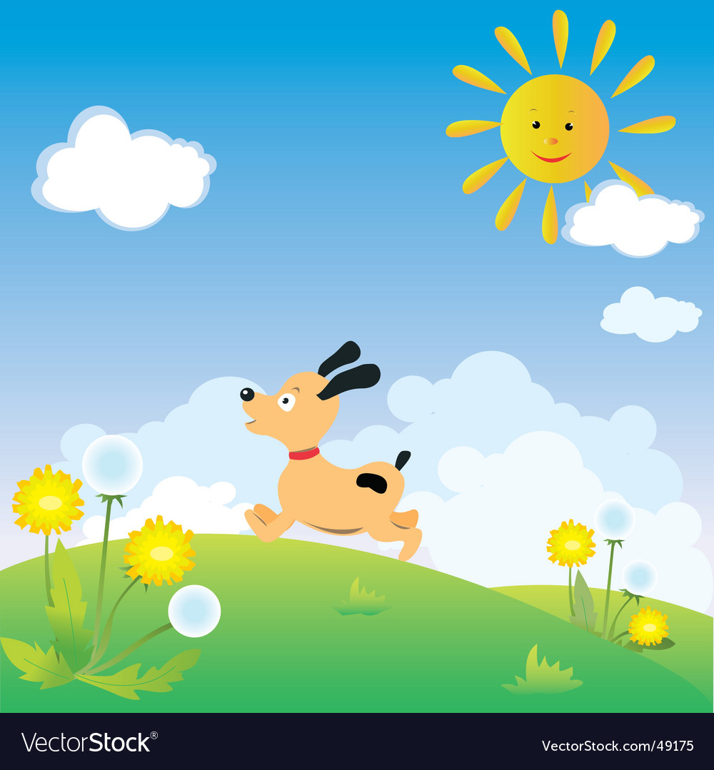 Dog playing vector | Price: 1 Credit (USD $1)