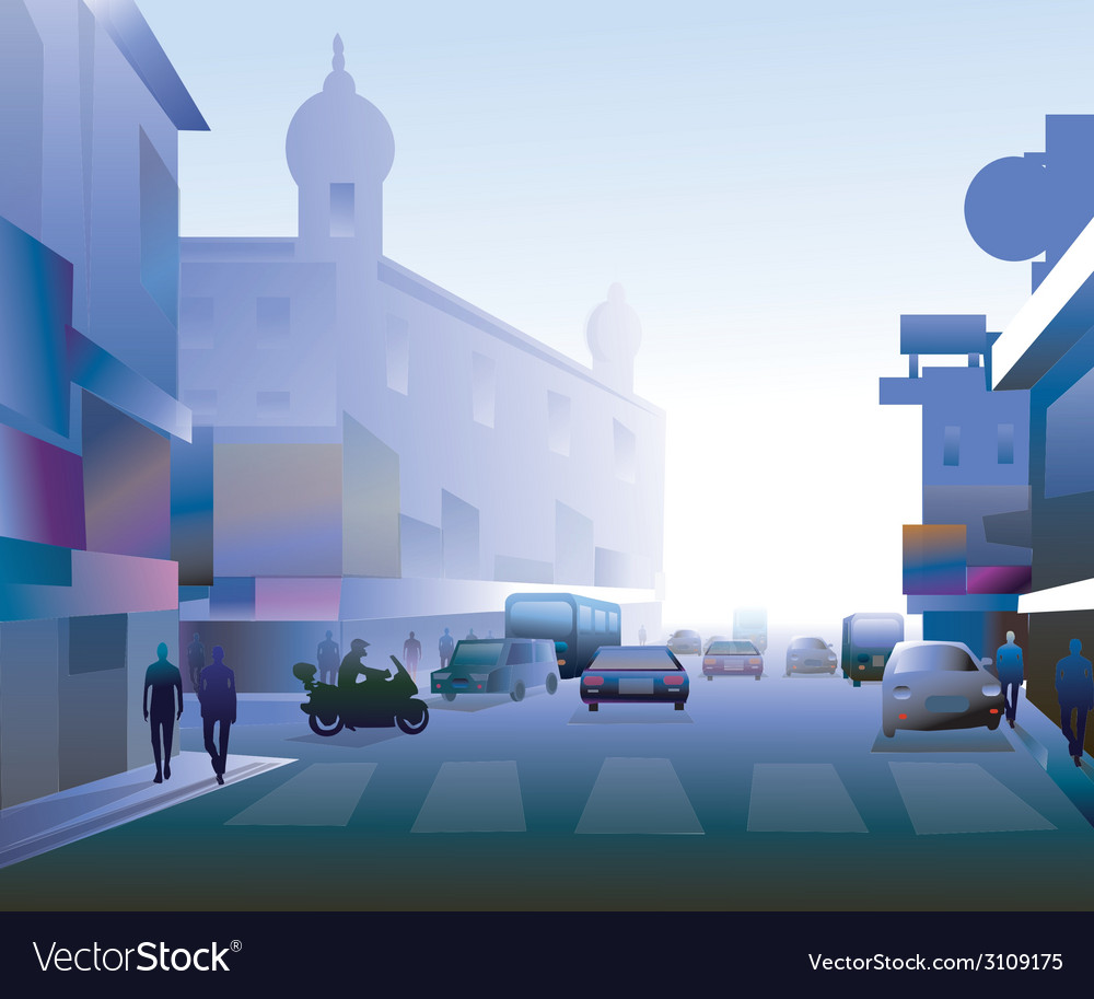Early morning street vector | Price: 1 Credit (USD $1)