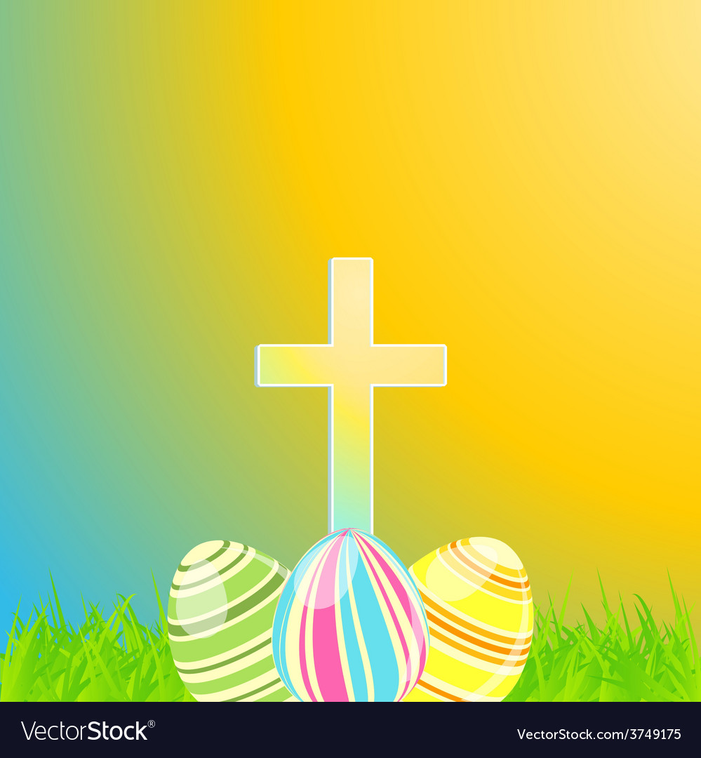 Easter eggs and cross vector | Price: 1 Credit (USD $1)