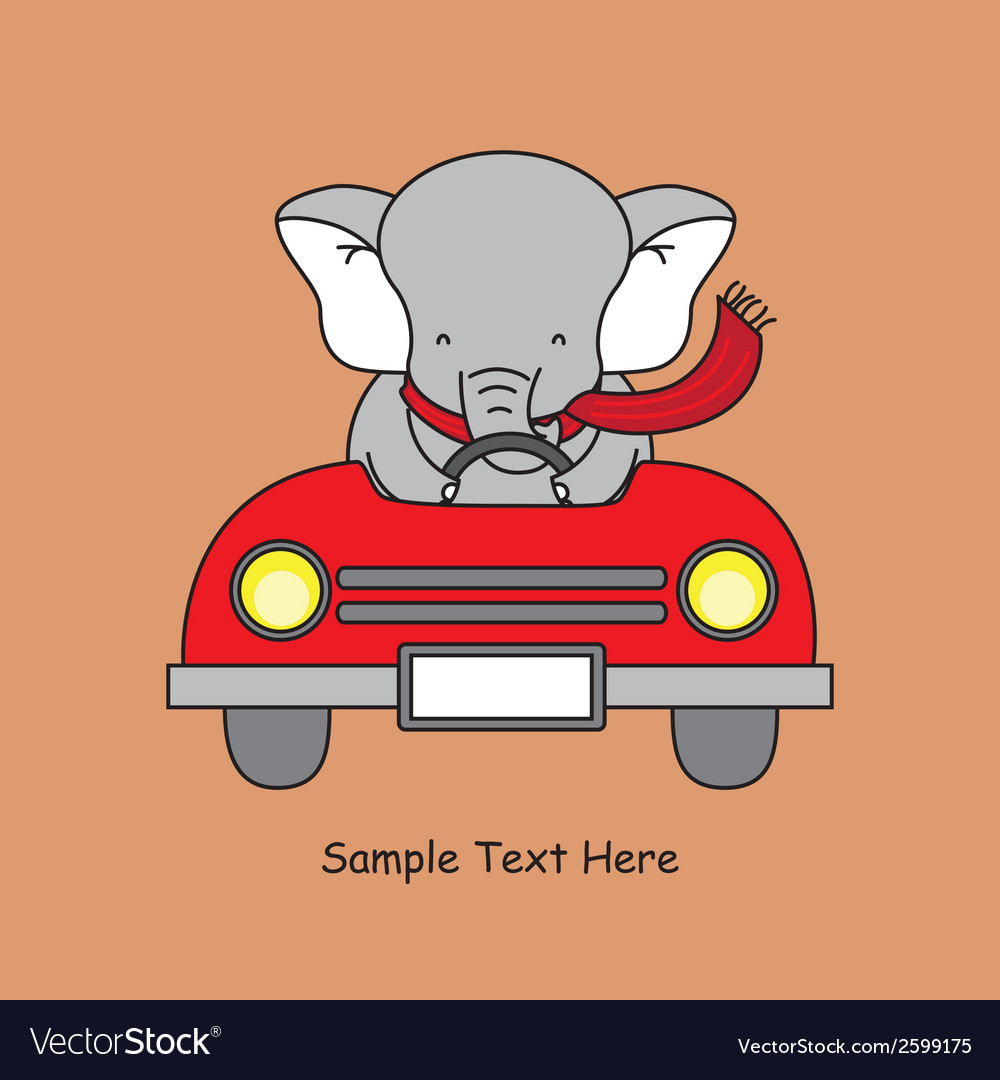 Elephant in a car vector | Price: 1 Credit (USD $1)