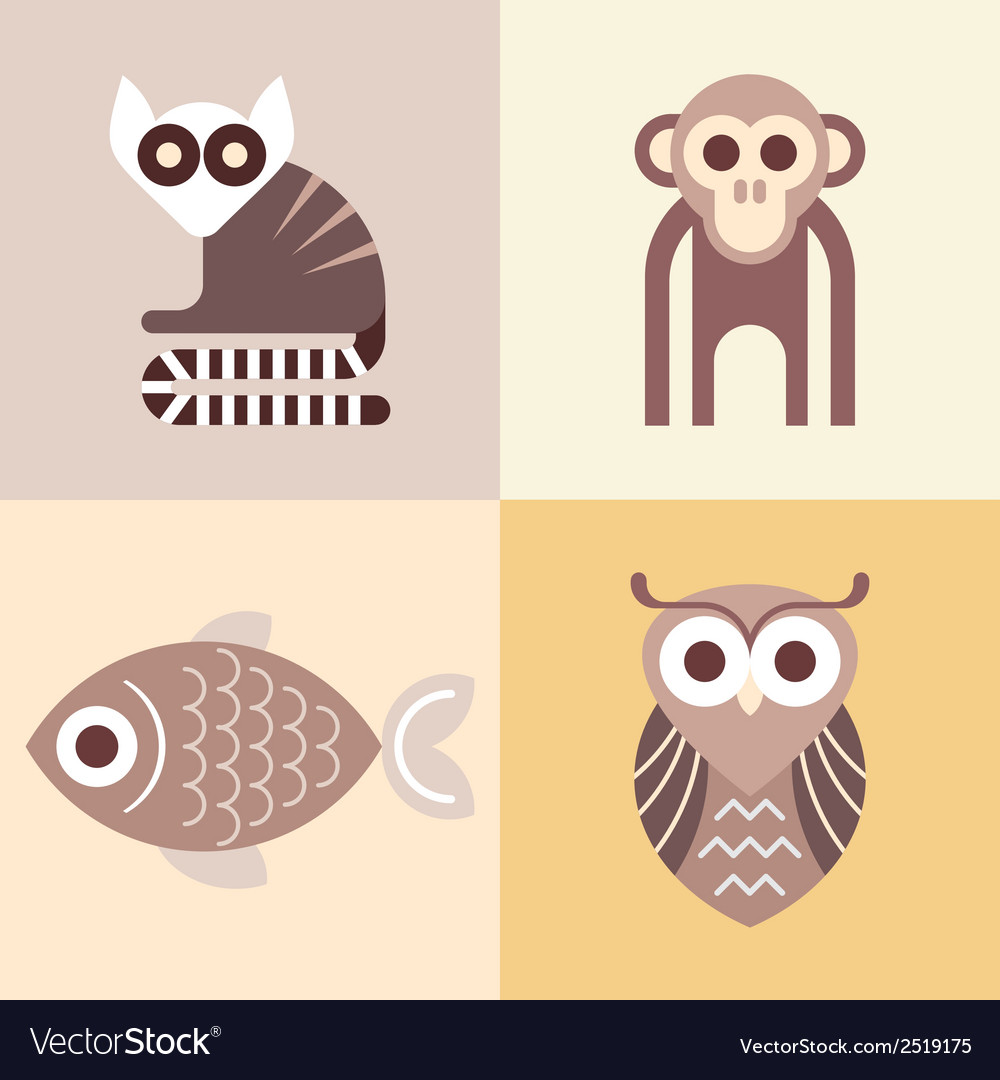 Four animals vector | Price: 1 Credit (USD $1)