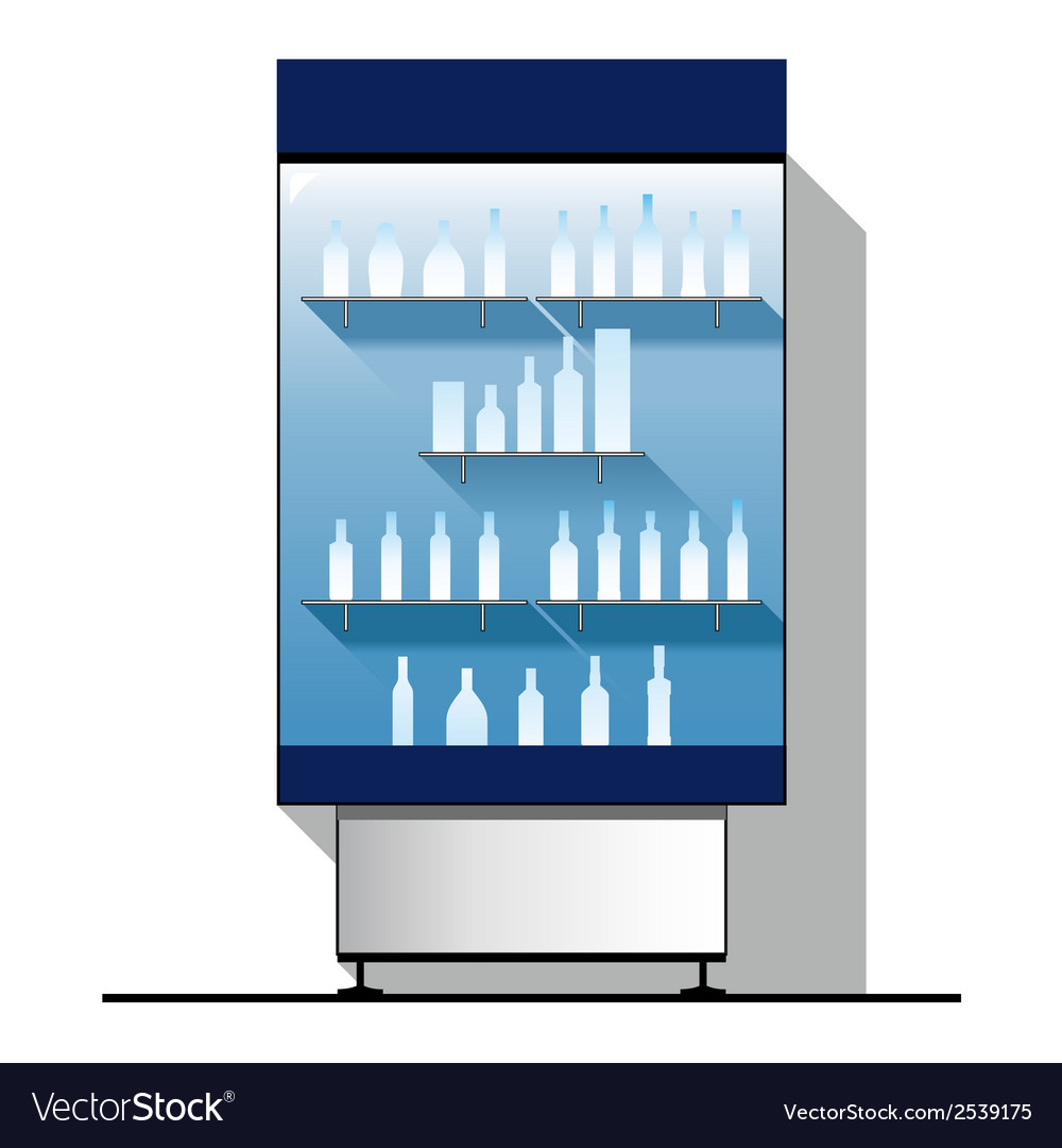 Glass showcase with bottles vector | Price: 1 Credit (USD $1)