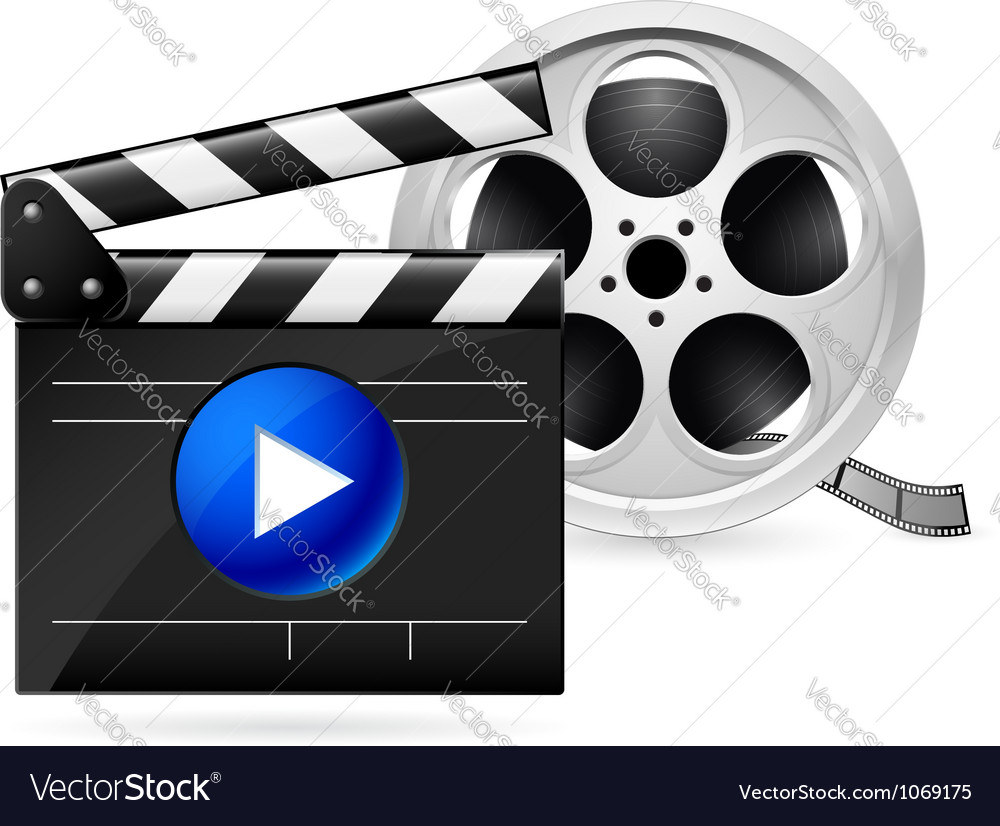 Movie clapboard and reel of film vector | Price: 1 Credit (USD $1)