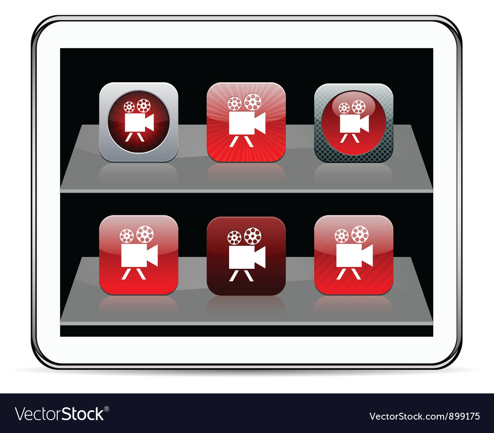 Video camera red app icons vector | Price: 1 Credit (USD $1)