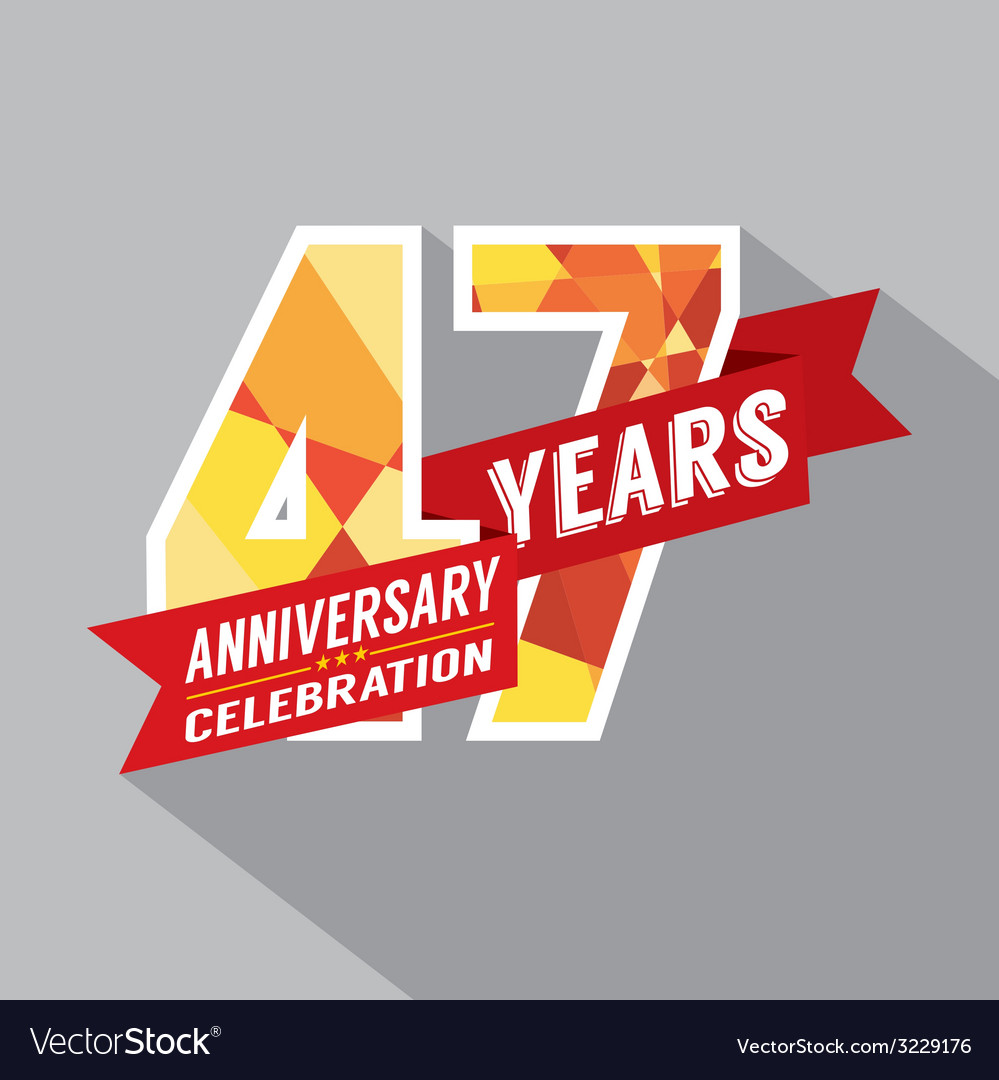47th years anniversary celebration design vector | Price: 1 Credit (USD $1)