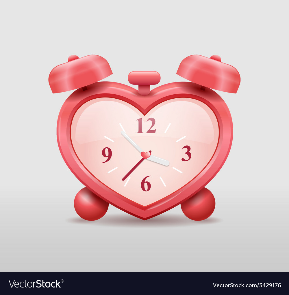 Alarm clock in heart shape vector | Price: 3 Credit (USD $3)