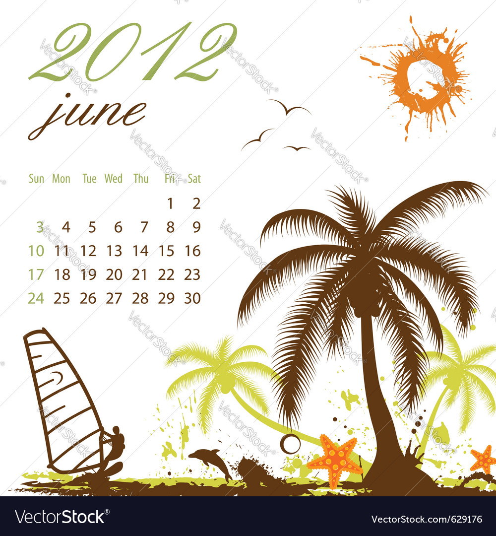 Calendar for 2012 june vector | Price: 1 Credit (USD $1)