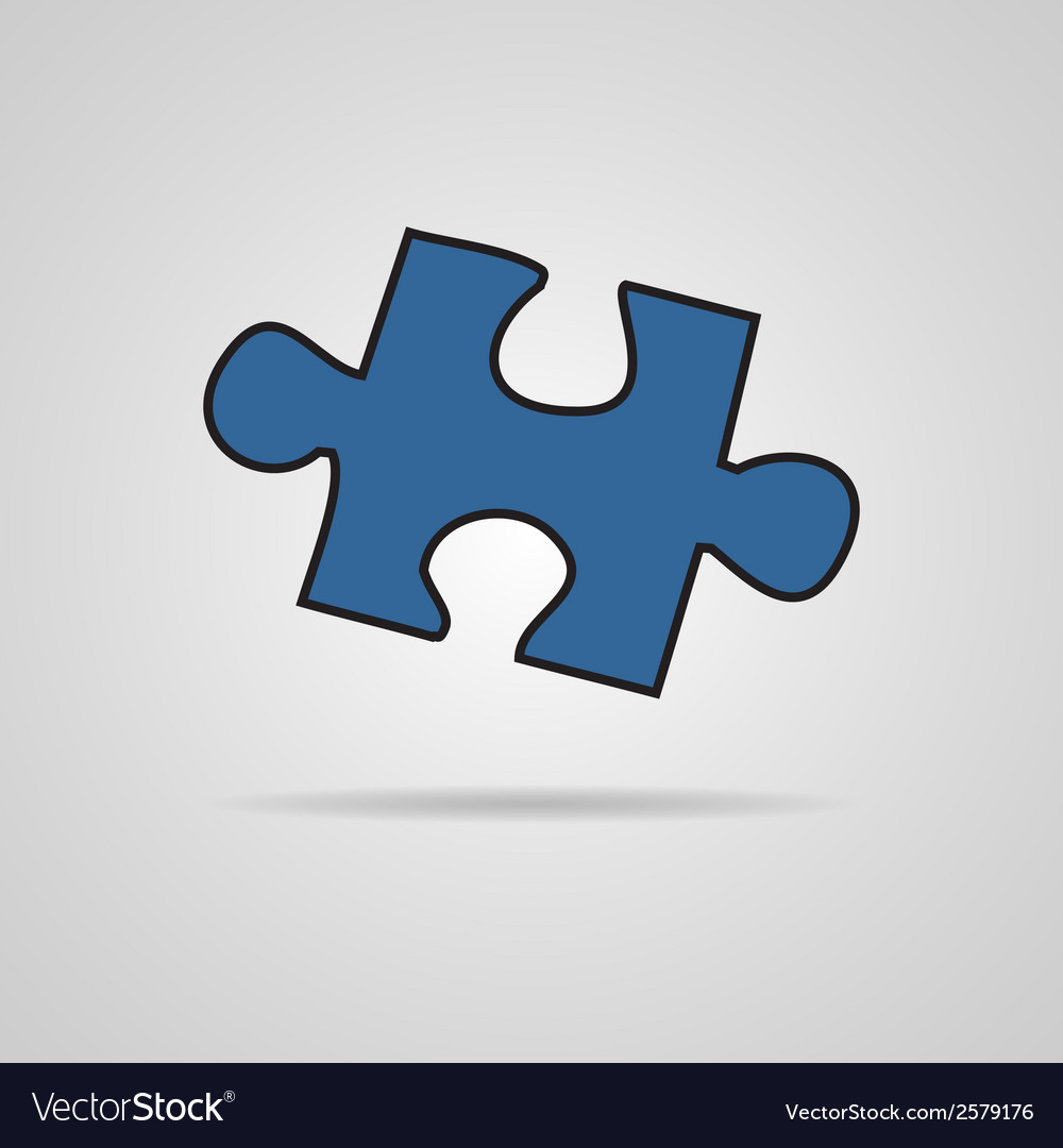 Closeup of jigsaw puzzle piece isolated on grey vector | Price: 1 Credit (USD $1)