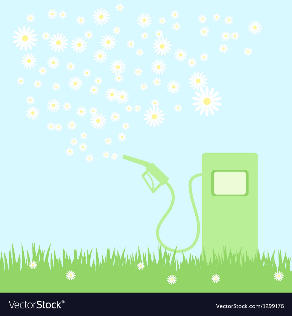 Green gas pump on a green field with camomiles vector | Price: 1 Credit (USD $1)