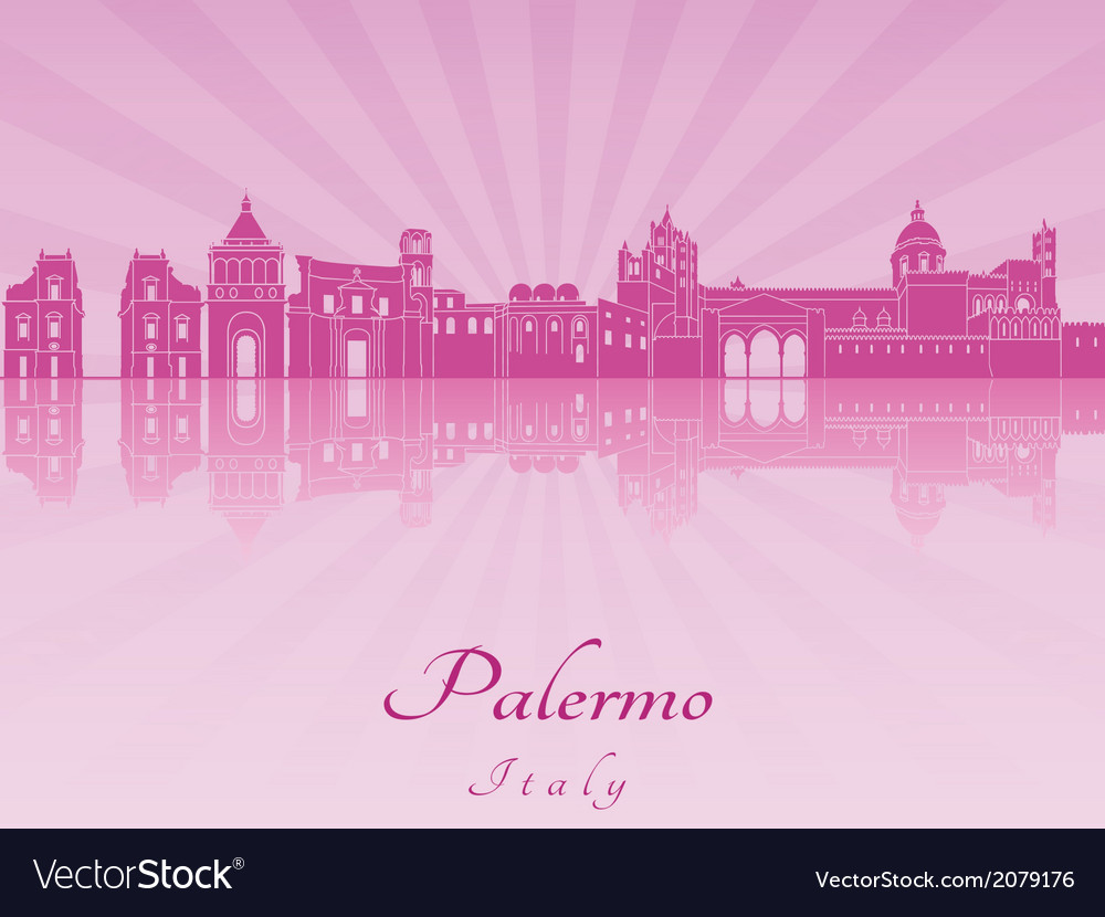 Palermo skyline in purple radiant orchid vector   Price: 1 Credit (USD $1)