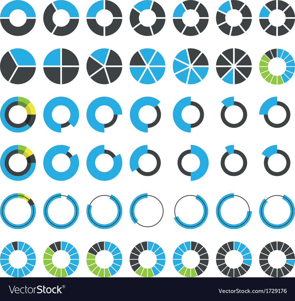 Round infographic elements and pie charts vector