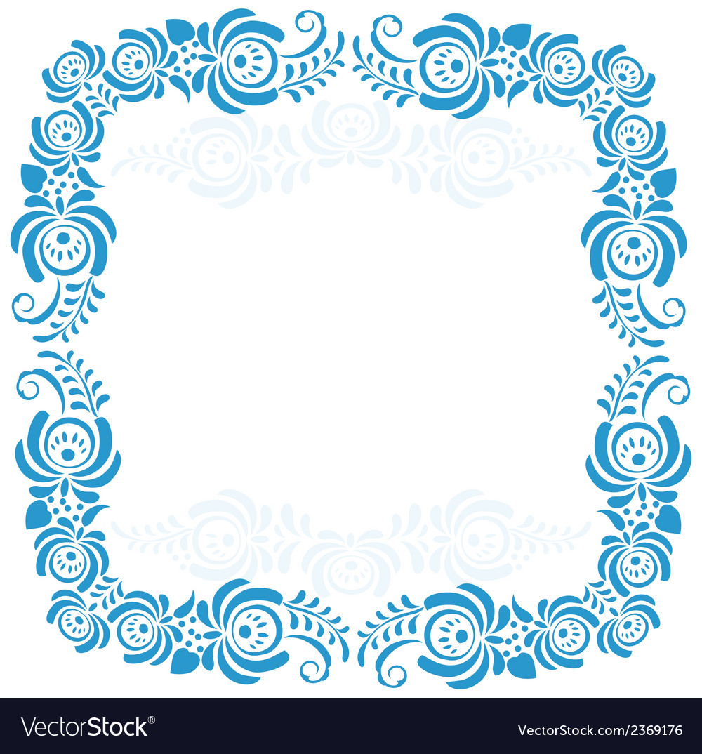 Russian ornaments art frames in gzhel style gzhel vector | Price: 1 Credit (USD $1)