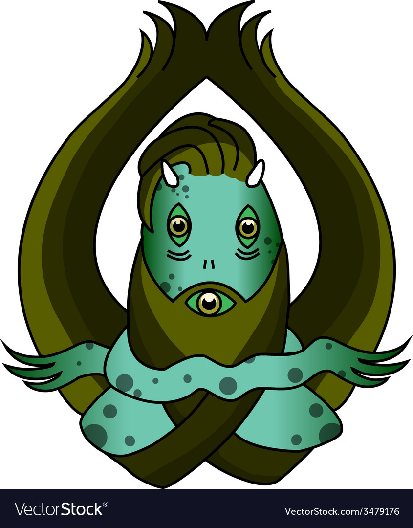 Scary green swamp monster vector | Price: 1 Credit (USD $1)