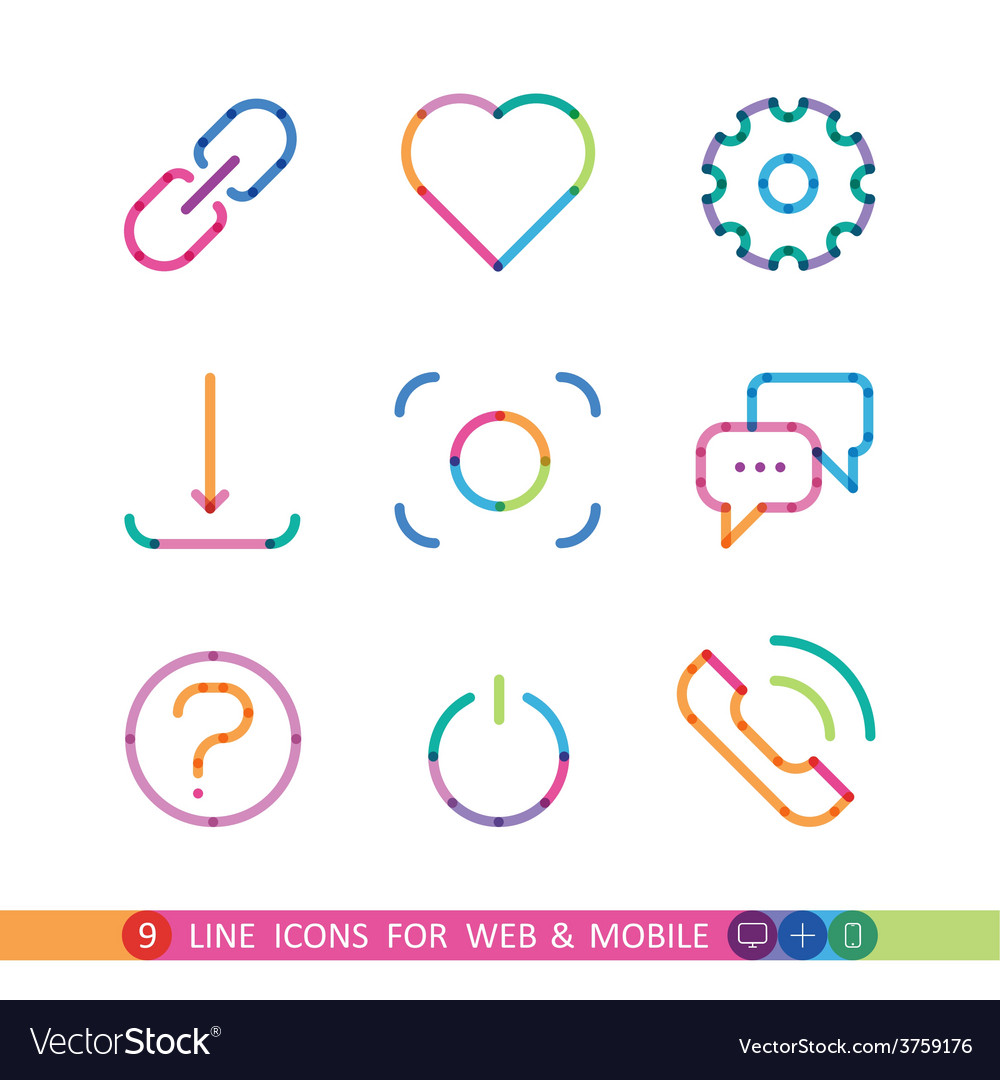 Set from 9 colorful icons for web and mobile vector | Price: 1 Credit (USD $1)