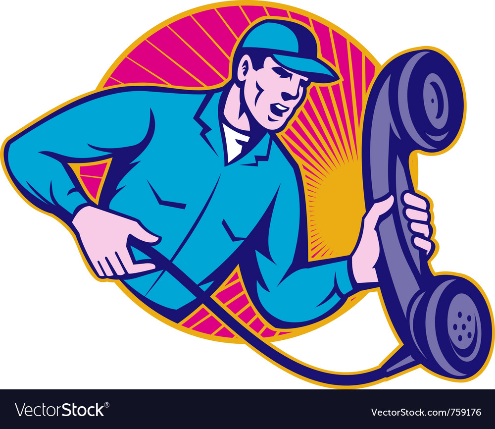 Telephone repairman holding phone vector | Price: 1 Credit (USD $1)