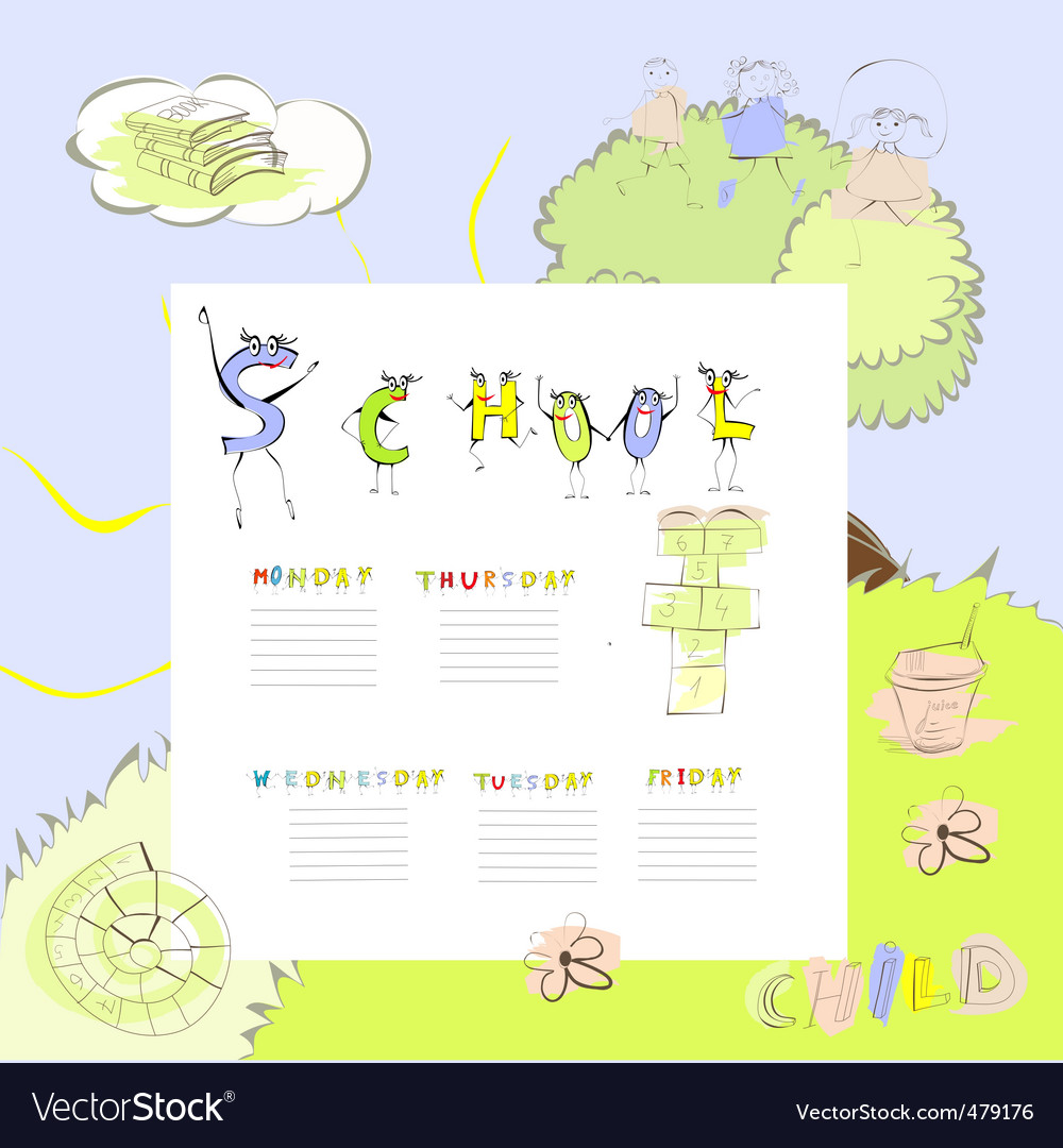 Template for school schedule vector | Price: 1 Credit (USD $1)