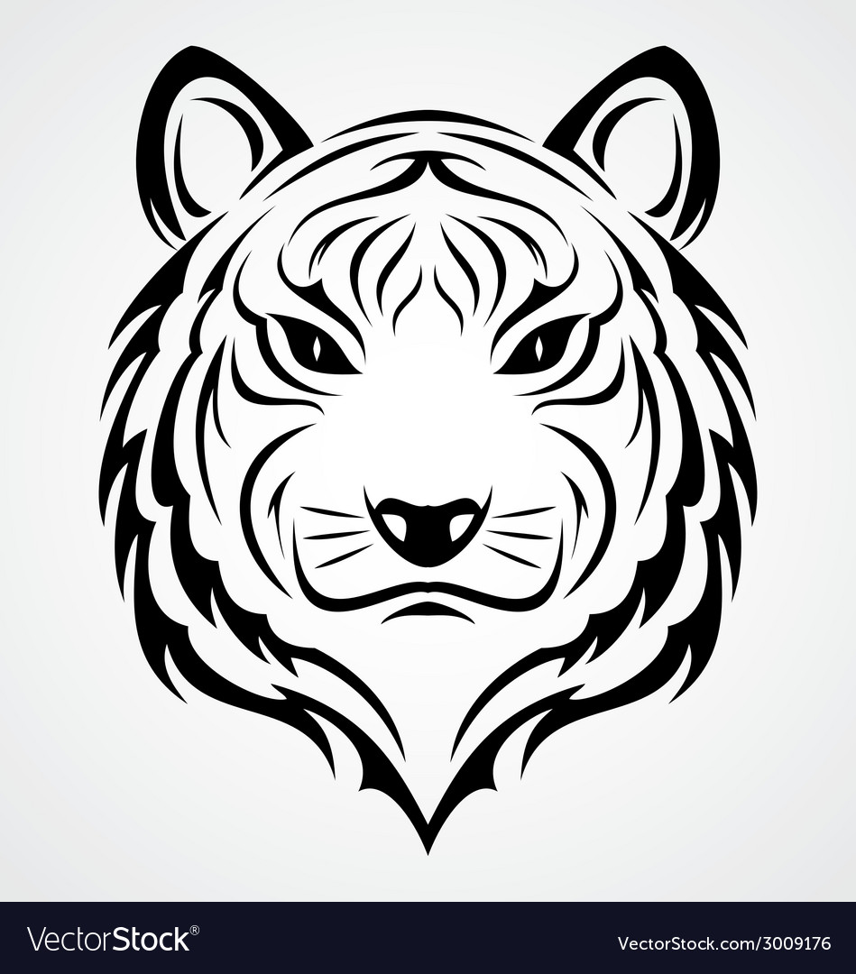 Tiger face tattoo vector | Price: 1 Credit (USD $1)