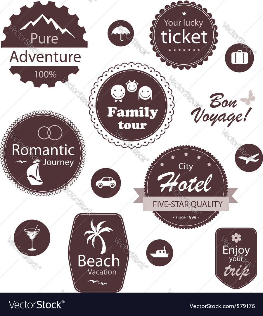 Travel and vacation emblems set vector | Price:  Credit (USD $)