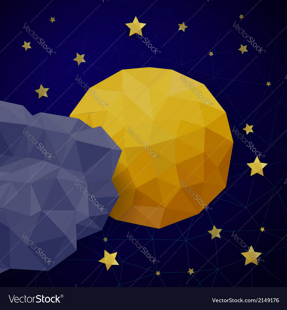 Triangle background with moon vector | Price: 1 Credit (USD $1)