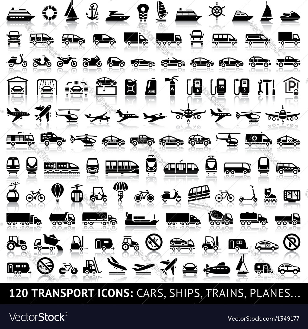 120 transport icon with reflection vector | Price: 1 Credit (USD $1)