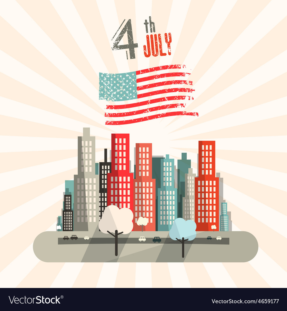 4 th july retro with american flag and city vector | Price: 1 Credit (USD $1)