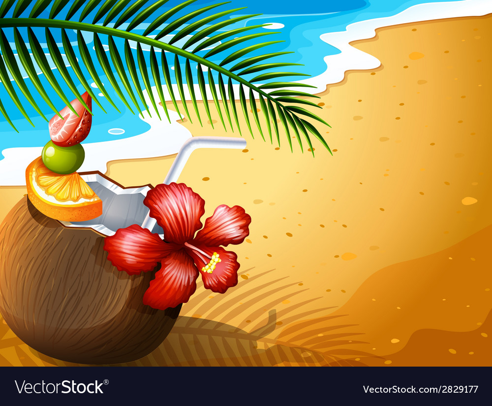 A refreshing coconut juice drink at the beach vector | Price: 1 Credit (USD $1)