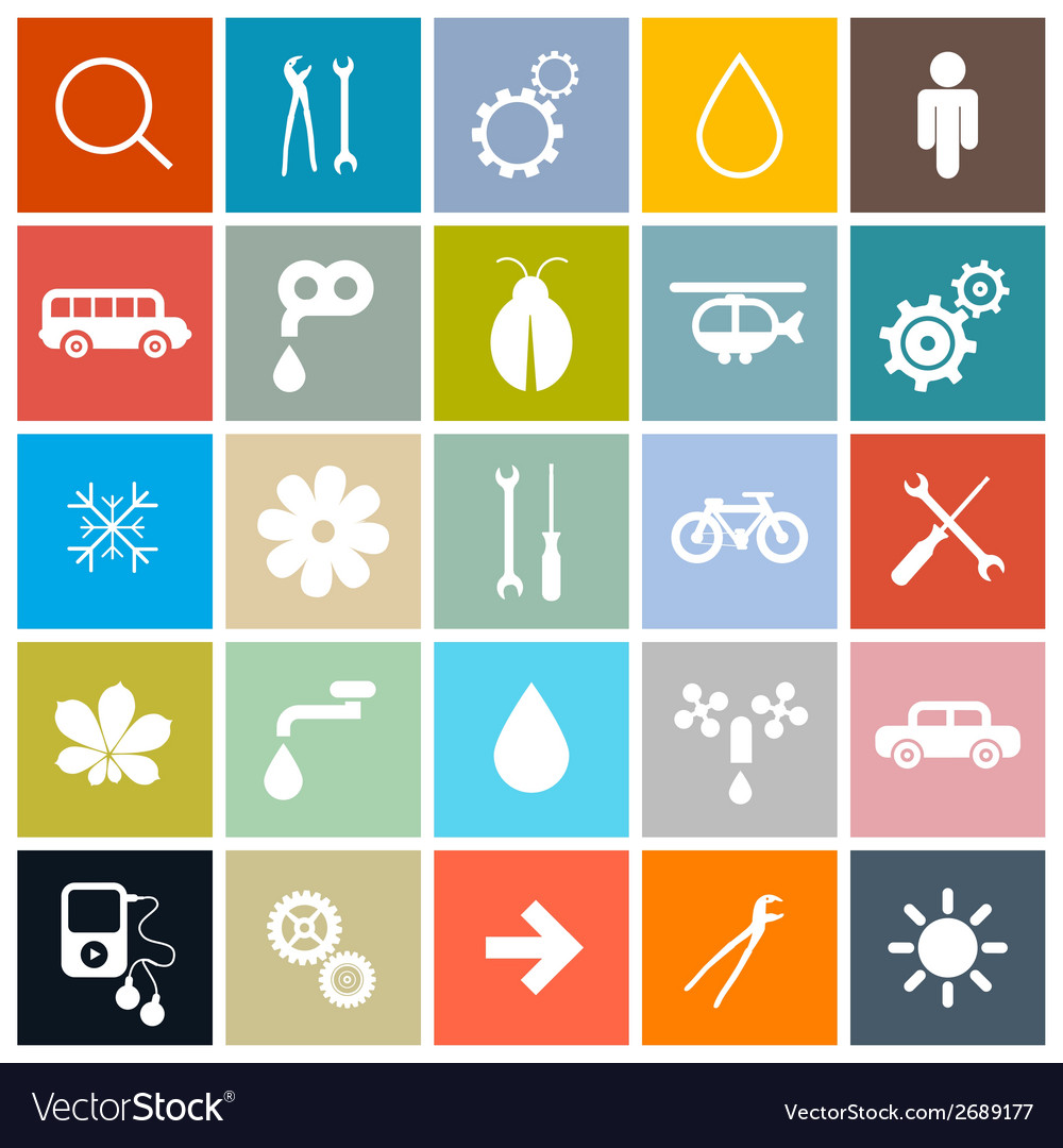 Flat design square icons set vector | Price: 1 Credit (USD $1)
