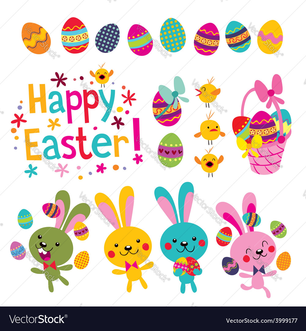 Happy easter design elements set vector | Price: 1 Credit (USD $1)