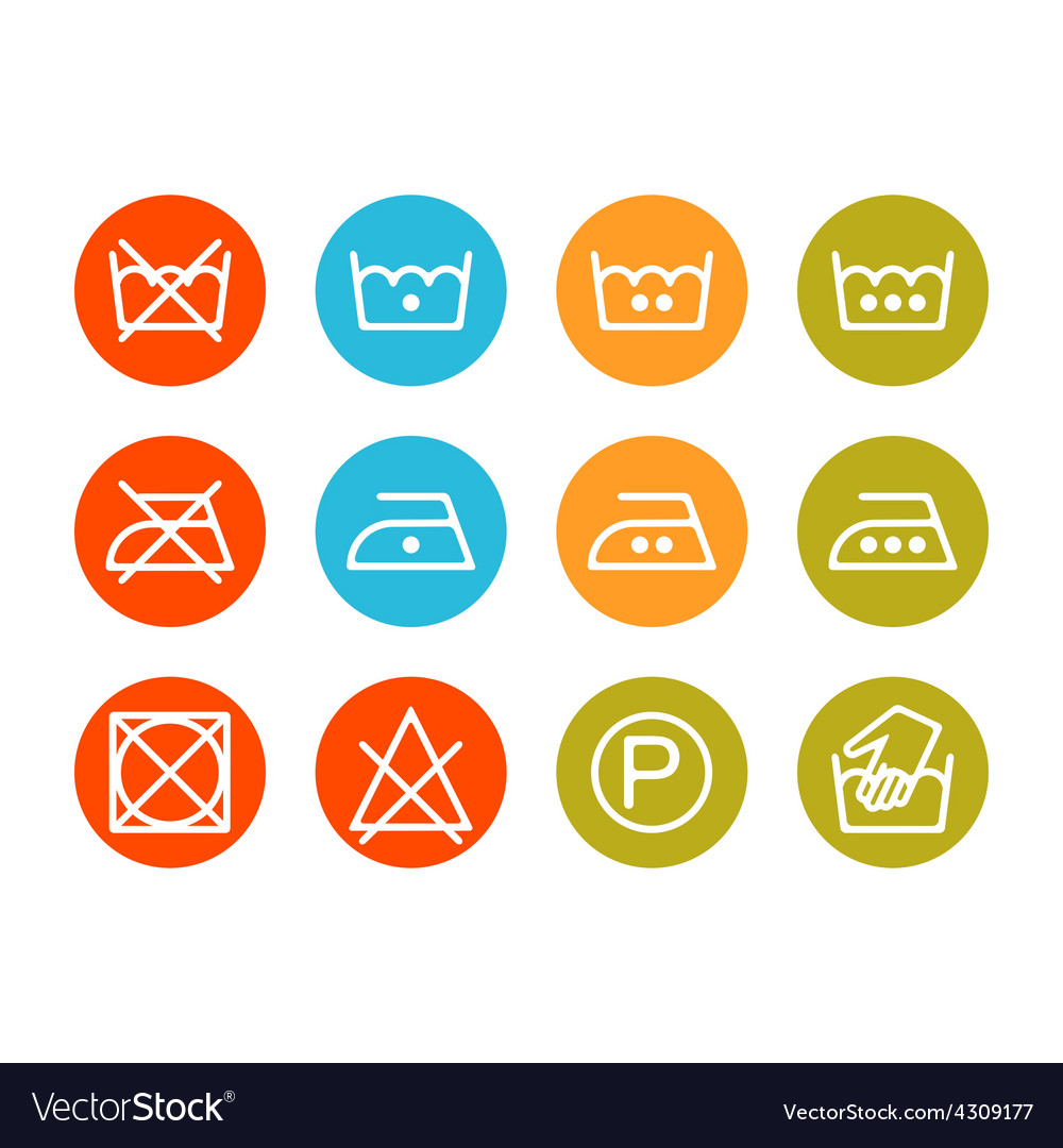 Instruction laundry dry cleaning care icons vector | Price: 1 Credit (USD $1)