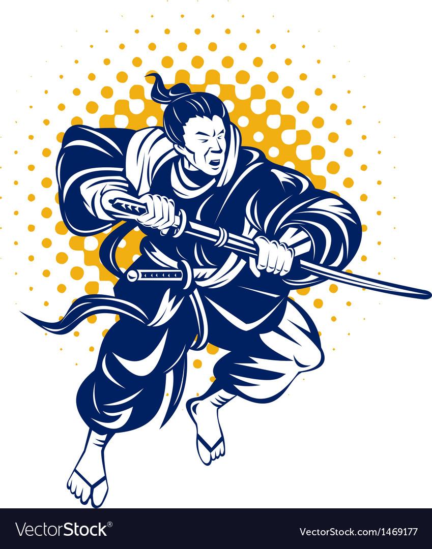 Japanese samurai warrior fighting vector | Price: 1 Credit (USD $1)