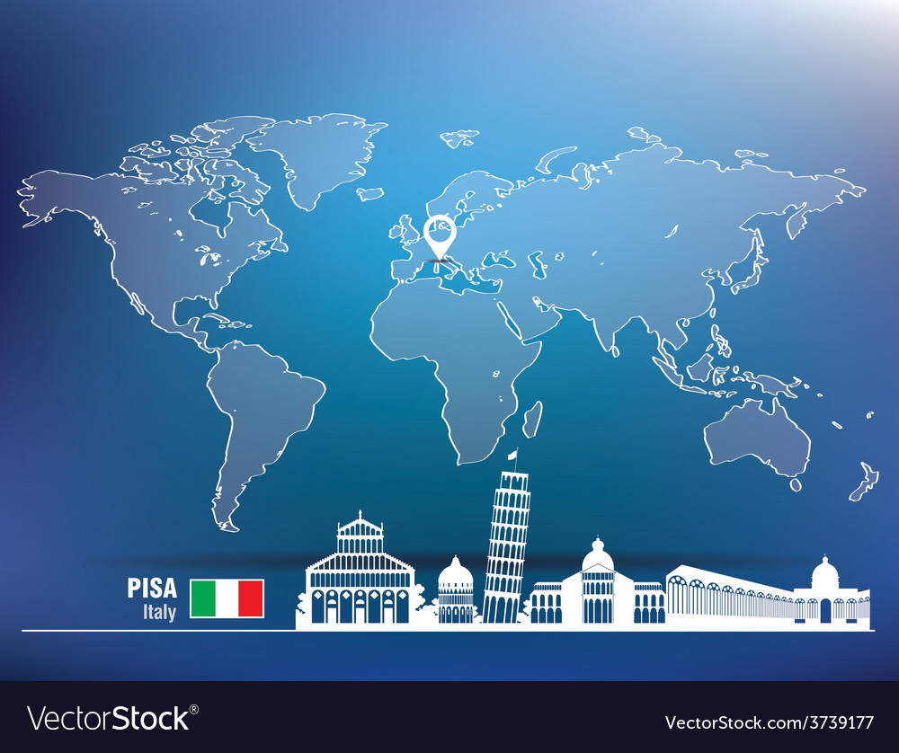Map pin with pisa skyline vector | Price: 1 Credit (USD $1)