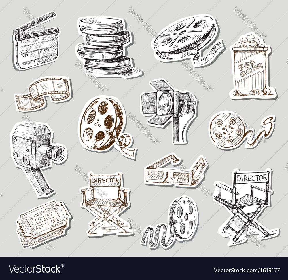 Movie camera-hand drawn vector | Price: 1 Credit (USD $1)