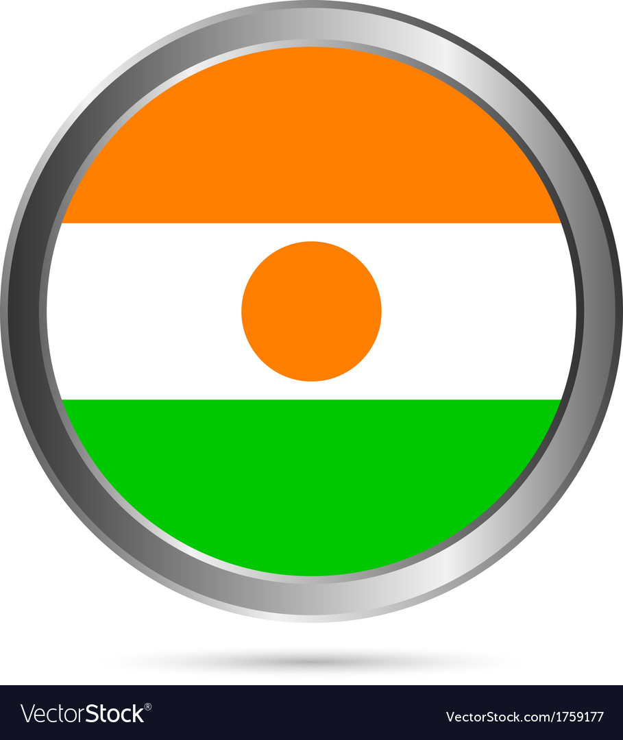 Niger flag button vector   Price: 1 Credit (USD $1)