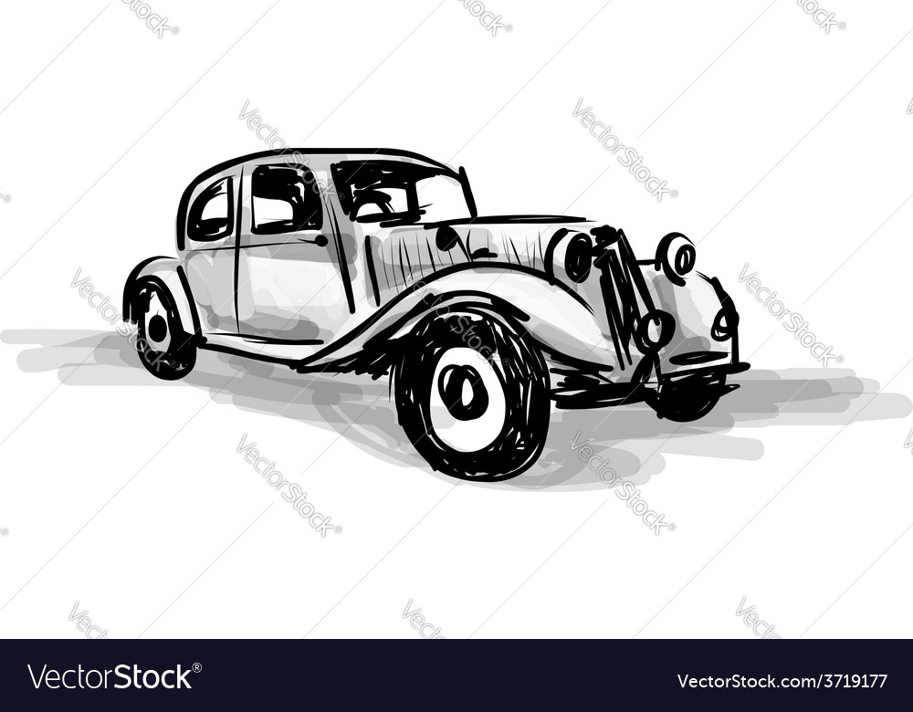 Retro car sketch for your design vector | Price: 1 Credit (USD $1)